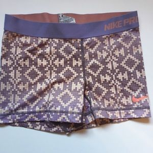 Nike Pro Shorts Aztec Print Pink Purple Small S